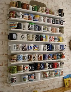 Coffee Mug Wall - show off all the cute mugs and you don't have to find room for them in a cabinet!
