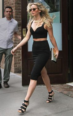 Jennifer Lawrence wearing Michael Kors black crop top and pencil skirt. June 2015