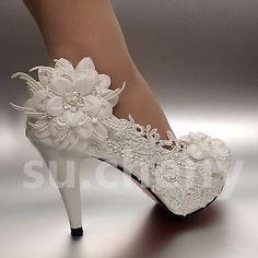 "2 3 4"" White ivory heels lace ribbon crystal pearl Wedding shoes bride 57ec15da336a"