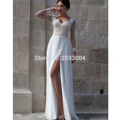 Find More Prom Dresses Information about Chiffon Fast Delivery White Long Sleeve Prom Dresses 2016 with Slit,High Quality sleeve wrapper,China sleeve prom dress Suppliers, Cheap sleeve wedding dress from Lulu Design on Aliexpress.com