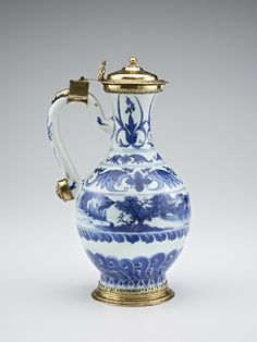 Blue-and-White Ewer with European silver-gilt mounts, ca. 1630-1644, Ming dynasty (1368 - 1644). Jingdezhen, Jiangxi province.