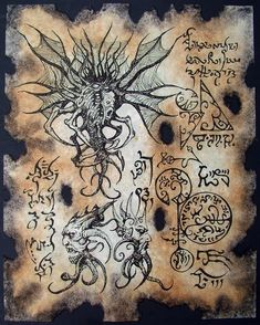 Items similar to Cthulhu larp Haunter of the Dark Necronomicon page Scroll Magick occult witch on Etsy Cthulhu Mythos, Cthulhu Art, Call Of Cthulhu, Hp Lovecraft, Necronomicon Lovecraft, Lovecraftian Horror, Eldritch Horror, Ange Demon, Templer