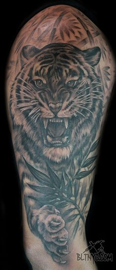 Black and Gray Tiger Portrait Tattoo by NY Nic at Body Language Tattoo Shop Queens #tigertattoo #animaltattoo #tattoo  #tattooartist Nyc Tattoo, Tattoo Shop, Body Language Tattoo, Custom Tattoo, Black And Grey Tattoos, Chest Tattoo, Love Tattoos, Tatoos, Queens