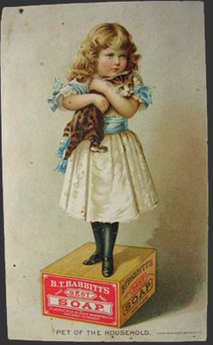 Babbitt's Best Soap Trade Card ~ Girl Holds Kitten