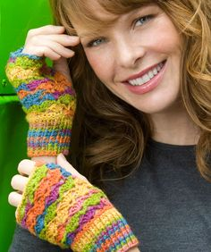 Crochet Lace Fingerless Mitts - Free Download Printable Instructions from Redheart Yarn