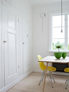 splash of yellow with this eames chair in an otherwise white dining room