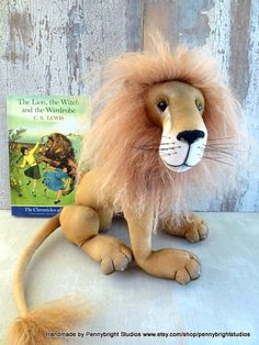 Lion, Aslan inspired by The Lion, The Witch and The Wardrobe: soft sculpture animal, artist bear by Pennybright Studios.