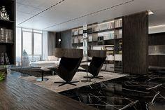 Un salon moderne qui adopte parfaitement la tendance des tapis superposés.