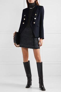 Veronica Beard - Mini-jupe en tweed métallisé à boutons Mirabella Blazer Outfits, Skirt Outfits, Chic Outfits, Fashion Outfits, Tweed Mini Skirt, Tweed Dress, Winter Skirt Outfit, Winter Outfits, Skirts With Boots