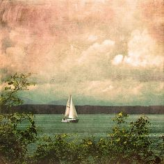6 x 6 Print - Oceanscape With Sailboat Puget Sound, Seattle Washington Square Digital Photo Art on Etsy, $18.00