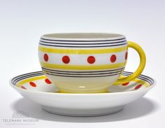 Cup and saucer Chocolate Cups, Scandinavian Design, Cup And Saucer, Dining Area, 1940s, Norway, Kitchen Decor, Art Deco, Porcelain