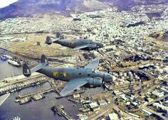 Rare colour flying photo of South African Air Force Ventura bombers over the docks in Two Ventura's from 22 Squadron at Ysterplaat over the Cape. Air Force Day, South African Air Force, Beach Buggy, Tactical Survival, Ol Days, Cool Photos, Interesting Photos, North Africa, Military History