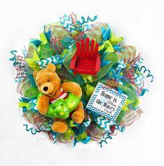 Disney Summer Pooh Wreath,  Beach Decor, Summer Wreath by Splendid Homecrafts on Etsy
