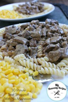 Pin this 30 Minute Beef Stroganoff With No Mushrooms recipe for a easy weeknight meal. It's a perfect one for Back to School Nights! #beef #beefstroganoff #easymeal #easydinner