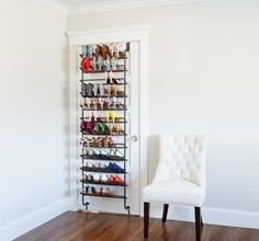 Create out-of-the-way, vertical storage for your shoe collection with an over the door shoe rack. Hanging Shoe Storage, Shoe Storage Rack, Hanging Shoes, Shoe Storage Behind Door, Shoe Storage Ideas Bedroom, Furniture Storage, Diy Storage, Furniture Design, Door Shoe Organizer