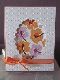 Birthday card with flowers, glitter and ribbon. Front is embossed with small polka dots and front panel is raised with foam dots. Birthday Card Messages, Flower Birthday Cards, Handmade Birthday Cards, Flower Cards, Greeting Cards Handmade, Cricut Cards, Stampin Up Cards, Flip Cards, Embossed Cards