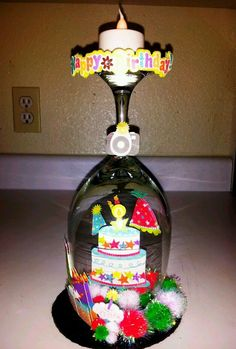 +OOAK+DiY+Decoration+Happy+Birthday+present+Glass+Dome+++Custom+made+Centerpiece+