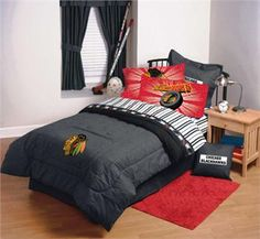 Find great prices on Hockey Bedding at Domestic Bin, your source for NHL bedding, with comforters and sheet sets featuring your favorite ice hockey team. Blue Bed Sheets, Twin Sheets, Twin Sheet Sets, Kids Sheets, Hockey Bedroom, Hockey Decor, Sports Bedding, St Louis Blues, Chicago Blackhawks