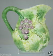 VINTAGE SAN MARCO MAJOLICA PITCHER ITALY GREEN,GRAPEVINE,GRAPES,LEAVES