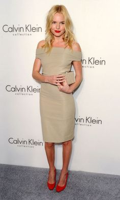 Kate Bosworth in Calvin Klein. Classy!! Love the red lips and shoes ;)