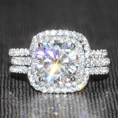Eternal Moissanite - 14K White Gold 3CT Round Wedding Engagement Ring Set!