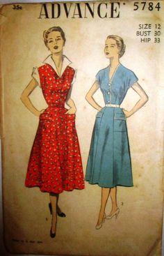 Advance 5784 Womens House Dress 1950s Vintage by Denisecraft, $8.99