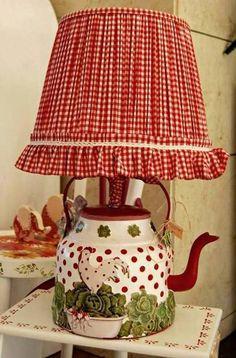 Çaydanlık lamba # DIY Home Decor unique 25 Unique Lighting Fixtures, Creative … Decoration Bedroom, Diy Home Decor, Teapot Lamp, Rooster Decor, Red Cottage, Unique Lighting, Lighting Design, Lighting Ideas, Red Gingham