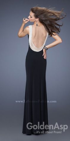 La Femme 19814 Prom Dress, from Golden Asp's selection of open back #prom dresses. Visit our #dress shop in Bensalem, Pennsylvania, or shop for open back dresses online at http://www.goldenaspprom.com/shop/dresses/style/open-back-prom-dresses #prom2015 #prom2k15