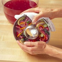 freeze fresh fruit and a little punch into bunt cake pan for punch ice ring - pretty