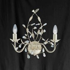 SEARCHLIGHT 2492-2CR Wall Light Fitting ALMANDITE Wall Light Fittings, Wall Lights, Ceiling Lights, Wall Brackets, Cream And Gold, Clear Crystal, Bulb, Crystals, Deco