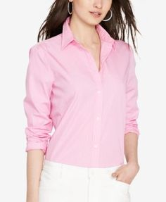 Lauren Ralph Lauren Striped Shirt $39.99 Sleek stripes accent this crisp cotton Ralph Lauren button-up, enhancing its streamlined style that's perfect for the workweek or the weekend.