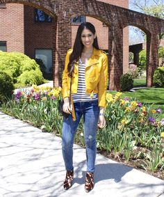 Stripes & Camo - The Style Contour   zara yellow leather jacket, spring color trends, how to wear yellow, how to wear a yellow jacket, black and white stripes, bold stipe trend, how to determine your body shape, skinny jeans, New York & Company SOHO jeans, Nina Originals camo boots, casual spring outfit idea, weekend style, ootd, outfit ideas, outfit inspiration, new york fashion blogger