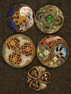 group of 19th C. Victorian enameled and pierced brass buttons