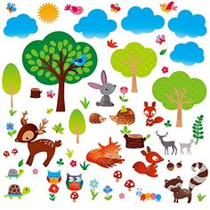Woodland Friends Nursery/Boys Room Decorative Peel and Stick Wall Art Sticker Decals * Check this awesome product by going to the link at the image. (This is an affiliate link)