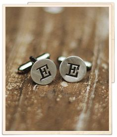 From The Vintage Pearl  handstamped cufflinks