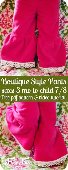 This free child pants pattern is easy to make. These look like fleece- fleece ruffle pants & tunics for winter would be comfy and warm Ruffle Pants Pattern, Pants Pattern Free, Girls Ruffle Pants, Girls Pants, Free Pattern, Sewing Patterns Girls, Sewing For Kids, Baby Sewing, Clothes Patterns
