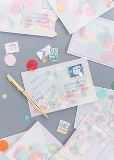 DIY Confetti Postcard - The House That Lars Built - [DIY Confetti Postcard - The House That Lars Built] 2018 is here! Diy And Crafts, Crafts For Kids, Paper Crafts, Box Creative, Diy Postcard, Envelopes, Papier Diy, Diy Confetti, Wedding Confetti