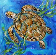 Sea turtle original paintings available for sale. Ocean Turtle, Sea Turtle Art, Sea Turtles, Baby Turtles, Frosch Illustration, Kawaii Turtle, Sea Turtle Painting, Turtle Images, Turtle Quilt