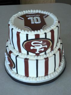 I made this for my friend who is hosting her sister's baby shower. Mommy to be is a fan and wanted the cake to reflect that! Baby Shower Cakes, Baby Shower Themes, Baby Boy Shower, Baby Shower Decorations, Shower Ideas, 49ers Cake, Bachelor Cake, Football Baby Shower, Cupcake Cookies
