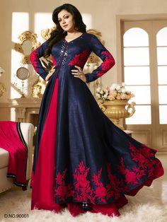Blue Embroided Raw Silk Salwar Kameez Dupatta #bandbaajaa.com #bandbaajaa #weddingsuits #mehendifunction #bridalsuits #designersuits #designersuits #salwarkameez #suits #weddingwear #weddingshopping