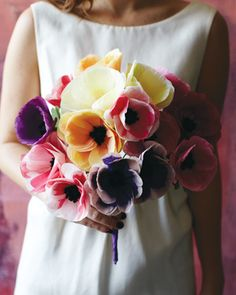 From our bouquet feature, as seen in in Westchester/Hudson Valley Weddings 2013 issue: Livia Cetti, an event designer/stylist and style director of Brides, crafts these anemone bouquets out of colorful tissue paper. Photo by Johnny Miller.