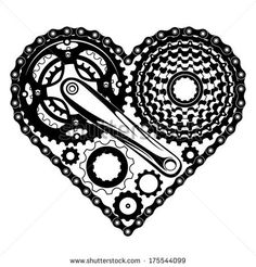 bicycle-parts-combined-in-a-heart-shape by yuriy kalmatsuy, via Shutterstock