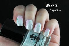 #ablecaw14 Week 8: Tape 'Em. OPI - This Gown Needs a Crown / OPI - Mod About You / Dollish Polish - Expecto Patronum / MoYou London - Hipster 08 / Nail Tapes / Rimmel - Hot White Love / Konad - White.