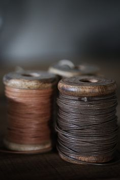 Leather Rope on Wooden Spools. Thread Spools, Needle And Thread, Vintage Sewing Notions, Ivy House, Wooden Spools, Passementerie, Brown Aesthetic, Vintage Textiles, Haberdashery