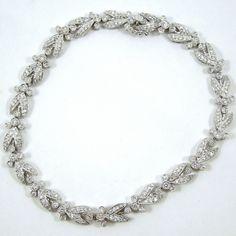 Platinum & 18K White Gold Vintage Diamond Bracelet. - $3,000