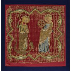 Embroidered English fourteenth-century panel from a burse portraying St Margaret and St Catherine and their symbolic attributes. (Victoria & Albert Museum)