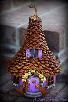 Fairy House with Pine cone petal shingles...LOVE the details... (and i'm sure the fairies do too)...;)