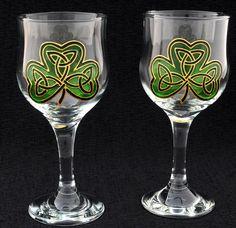 Hand Painted Irish Shamrock Wine Glasses