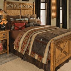 Dont really care for the headboard, but really like the foot board Decorating Problem: Large and Narrow Western Bedrooms Western Bedrooms, Western Bedding, Rustic Bedding, Country Western Decor, Western Style, Rustic Decor, Western Furniture, Western Homes, Home Decor Bedroom