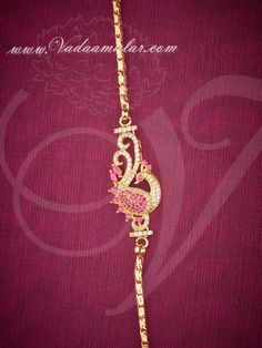 Ruby stones studded peacock design mugappu pendant with gold plated chain